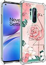 AIGOMARA Designed for One Plus 8 Pro Case 6.78 Inch 2020 Flamingo with Flower Light Pink Pattern Ultra Thin Clear Bumper Soft TPU Edge Transparent Four-Corner Airbag Shockproof Cover