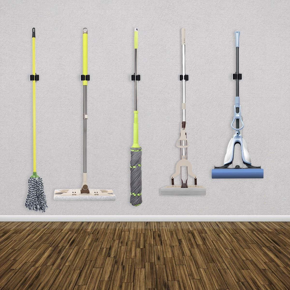 Broom Clip,Broom Mop Organizer for Batchroom Garden Garage 3-H Broom Holder Wall Mount,Broom Hanger Yellow