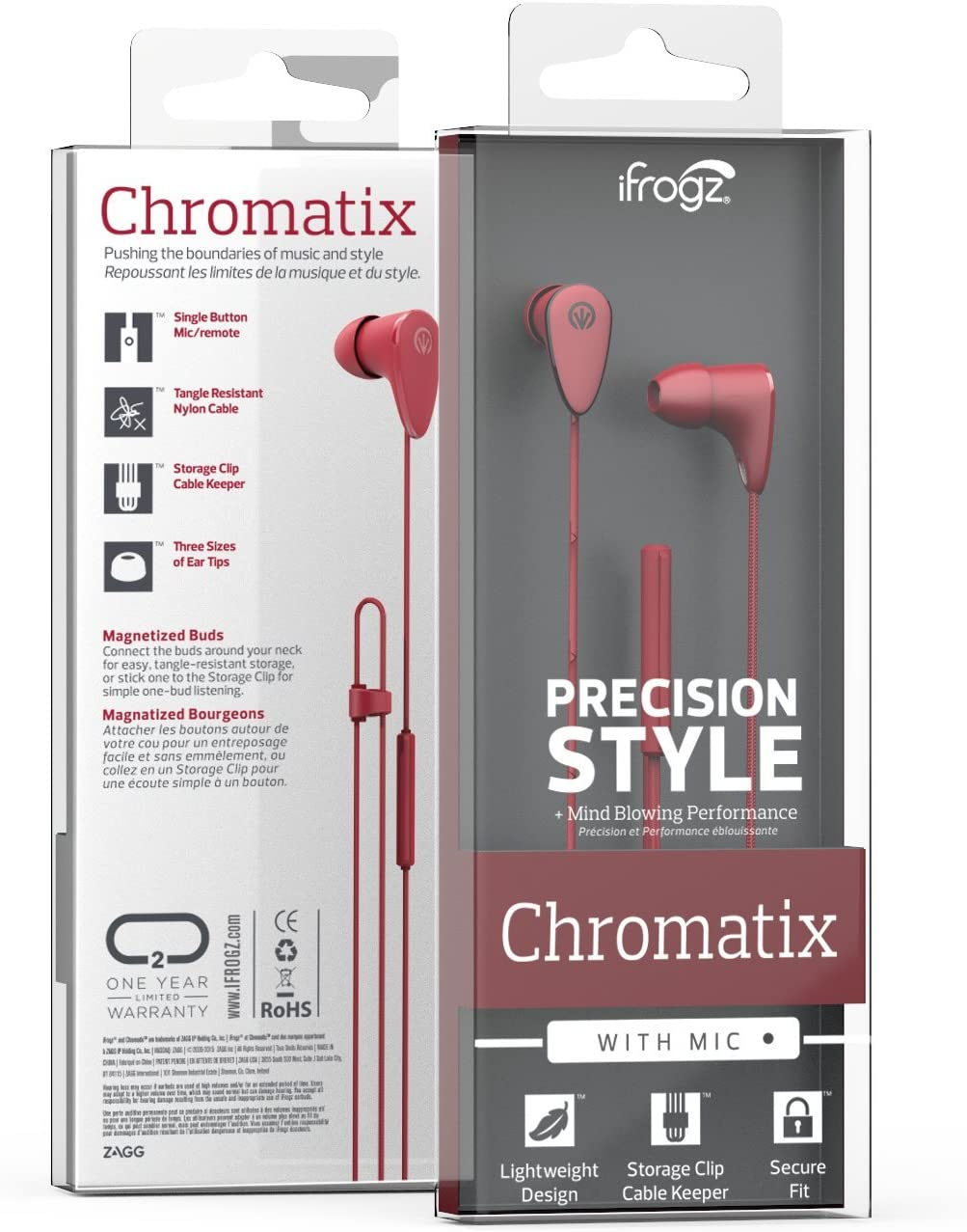 iFrogz Chromatix Earbuds with Single Button Remote and Microphone, Black Red