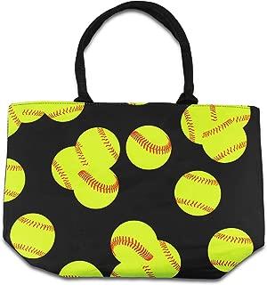 Urbanifi Lime Green Sports Prints Utility Canvas Tote Bag Handbag Medium Mom (Softball)