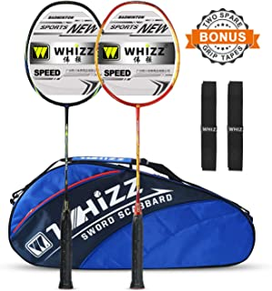 WHIZZ 2 PCS 100% Graphite Frame and Shaft Badminton Racket Set, Badminton Bag / 2 Grip Tapes Included
