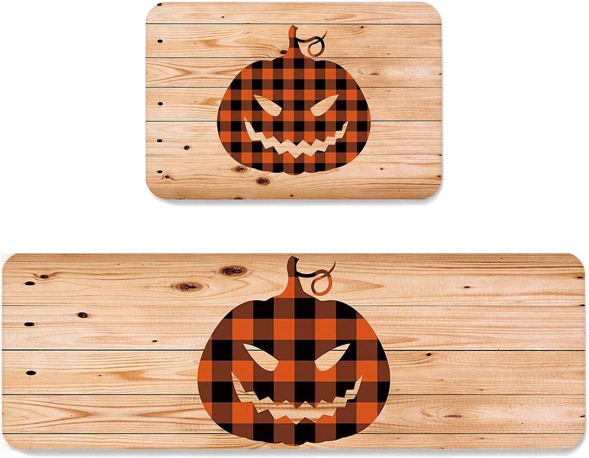 VCFUN 2 Piece Spring new work one after Selling rankings another Kitchen Floor Mats Halloween Kitc Pumpkin Buffalo