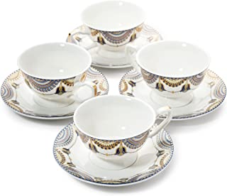 Pretty Little Teacups Set of 4 Cups and Saucers in Gift Box White/Blue