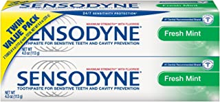 Sensodyne Sensitivity Toothpaste for Sensitive Teeth, Fresh Mint, 4 ounce (Pack of 2)
