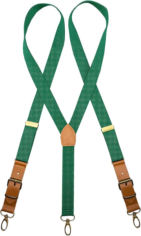 AYOSUSH Swivel Hook Suspenders for Men Retro Leather with Bronze Hooks Belt Loop