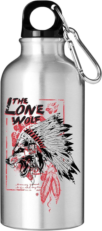 The Lone Wolf Native American Art Frasco de botella de agua turístico