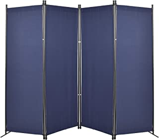 GOJOOASIS 4 Panel Room Divider Folding Privacy Screen Home Office Dorm Decor (Blue)
