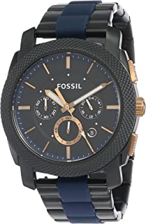 Fossil Men's Black Dial Stainless Steel Band Watch - FS5164