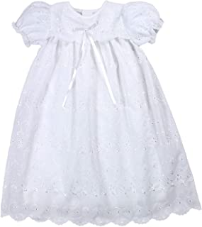 Baby Girls' Hand-Embroidered Eyelet Christening Gown, White