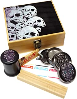 Skull Design - Large size Sacred Geometry Stash Box with Latch, Grinder & Pop Top Glass Jar Package & Free Accessories Item# LBCS020818-6