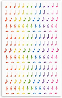 Rainbow Music Note Stickers for Teaching (Die-Cut, 18 Sheets, 3000 pcs)