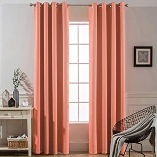 Yakamok Thermal Curtains Coral Blackout Curtain Panels, Room Darkening Solid Grommet Top Window Drapes for Dedroom, 2 Tie Backs Included,(52x84 inch, Coral Orange, 2 Panels