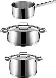 Cata Shine Set ollas Batería acero inoxidable | Cazuelas cocina 3 piezas | Tapas de cristal | Aptas para lavavajillas, Gris