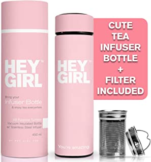 Hey Girl Tea Infuser Bottle - Travel Tea Tumbler For Herbal, Loose Leaf Tea & Tea Bags | The Perfect Gift Idea for Friends, Mother`s, Daughters & All Women