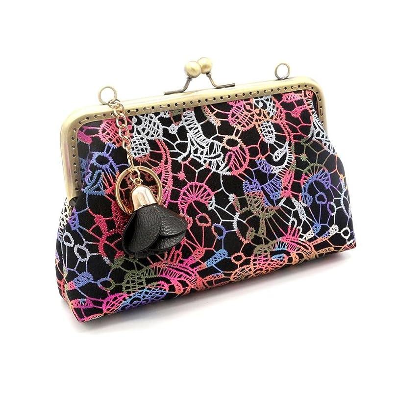 アニメーション友だち哲学的gbsellレディースレトロ刺繍チェーン小さな財布留め金財布クラッチバッグ