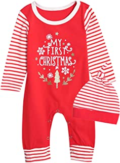 Xmas Outfit Set Baby Boy Girls First Christmas Romper with Hat