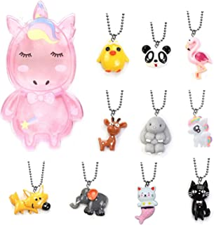 Zoo Collection - Mermaid, Rabbit, Giraffe, Chick, Flamingo, Panda, Fox, Cat, Elephant, Unicorn Cute Animals Pendant Necklace Set for Kids Party, Gift Box