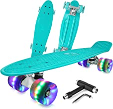 BELEEV Skateboard Complete Mini Cruiser Retro Skateboard for Kids Teens Adults, LED Light up Wheels with All-in-One Skate T-Tool for Beginners