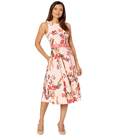 Vince Camuto Printed Scuba Crepe Midi Fit-and-Flare with Belt (Blush) Women