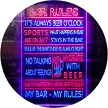 My Bar My Rules Man Cave Home Bar Beer Décor Dual Color LED Neon Sign Red & Blue 300 x 400mm st6s34-i3414-rb