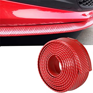 Mofeng Universal Carbon Fiber Front Bumper Guards Spoiler Lip Side Skirt Protector Rubber DIY Anti-Scratch for Cars SUV Trucks - Red