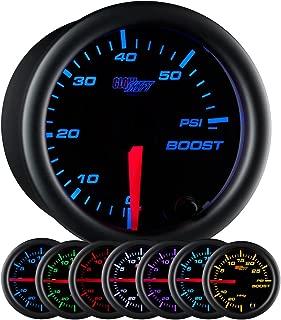 GlowShift Black 7 Color 60 PSI Turbo Boost Gauge Kit - Includes Mechanical Hose & Fittings - Black Dial - Clear Lens - for Diesel Trucks - 2-1/16
