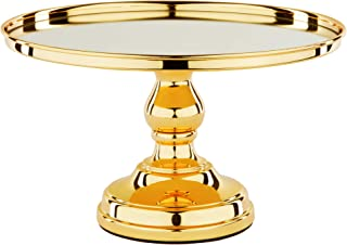 Amalfi Decor 12 Inch Cake Stand with Mirror, Polished Metal Dessert Cupcake Pastry Candy Cookie Display Pedestal for Wedding Event Birthday Party, Round Plated Platter Holder, Gold