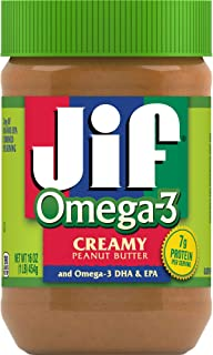Jif Omega-3 Creamy Peanut Butter, 16 Ounces (Pack of 12), Contains 32mg of Omega-3 DHA & EPA, Smooth, Creamy Texture, No S...