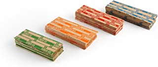 200 Assorted Bundle Flat Striped Coin Wrappers, 50 of Each, ABA Standards, Kraft Coin Rolls for Penny Dime Nickel Quater