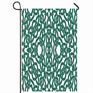 Ahawoso Outdoor Garden Flags 12x18 Inch Tiling Teal Carpet Abstract Pattern Celtic Knot Celt Creative Culture Delicate Drapery Design Vertical Double Sided Home Decorative House Yard Sign