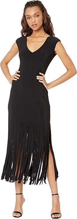 Raw Fringe Hem Dress