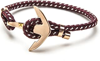Vice Bracelet Red Wine Strand/Rose Gold Anchor Large 8 inch