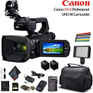 Canon XA55 Professional UHD 4K Camcorder (3668C002) W/Extra Battery, Soft Padded Bag, 64GB Memory Card, LED Light, and More Base Bundle