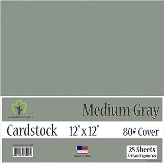 Medium Gray Cardstock - 12 x 12 inch - 80Lb Cover - 25 Sheets