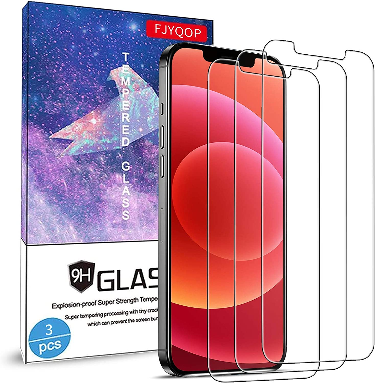 Glass Screen Protector for iPhone 12 Pro Max 6.7 Inch 3 Pack, 9H Tempered Glass Film, HD Clear, Bubble-Free Anti-Scratch for iPhone 12 Pro Max 5G Screen Protector Work Most Case