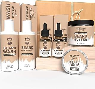 Beard Care Kit - Crafted Beards Ultimate Beard Grooming Bundle - Sandalwood Bourbon - Beard Wash - Beard Conditioner - 2 B...