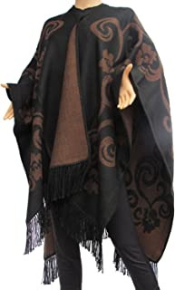 Black and Brown Crocheted Handcrafted Wrap Ruana Poncho Alpaca Wool