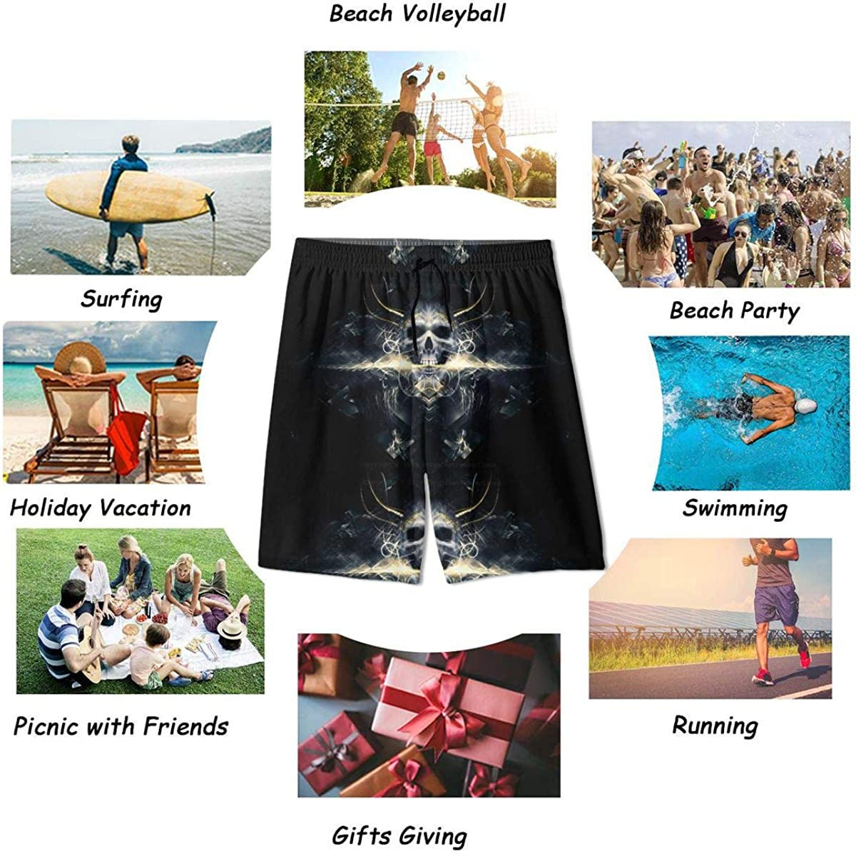 KXT Fantasy Aesthetic Boys Swim Trunks,Funny Cool Quick Dry Board Shorts Teens Kids Swimsuits