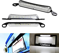 iJDMTOY 35-073-White Two-Way Frame Mount Plate Car Truck SUV Van RV, Powered by 9 Xenon White License Lamp & 6 Pieces LED as Back Reverse Light