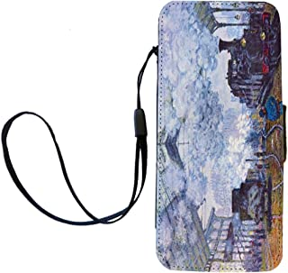 Rikki Knight Claude Monet Art Sait Lazare arrival of train in Paris Flip Wallet iPhoneCase with Magnetic Flap for iPhone 5...
