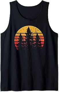 Retro Sun Minimalist Pine Tree Design - Graphic Tee Shirt Tank Top