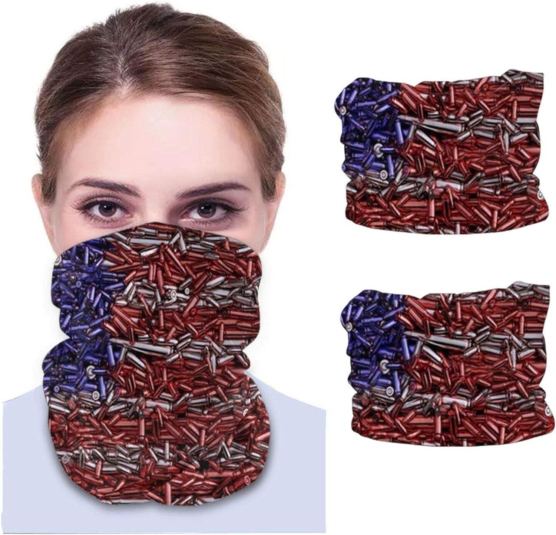 ZVEZVI Bandera de EE. UU. Formada balas 3 D Gun diadema Bandanas escudo para la cara Headwear cara bufanda máscara pasamontañas cuello polaina Headwrap 2pcs