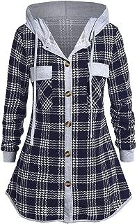 SHUSUEN Women Plus Size Plaid Patchwork Tops Hooded Button Blouse Checked Shirt Long Sleeve Sweatshirt