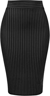 MixMatchy Women's Stretch Office Knee Length Midi Bodycon Pencil Skirt