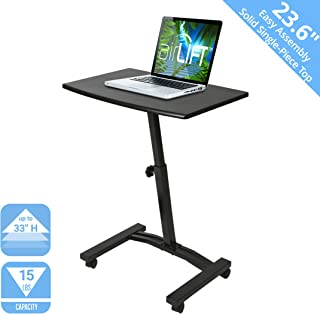 Seville Classics OFF65854 Mobile Height Adjustable Solid-Top Laptop Desk Cart, 23.6