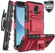 CaseTank for Galaxy J3 2018 Case/J3 Achieve/J3V J3 V 3rd Gen/J3 Star/Express Prime 3/Amp Prime 3/Sol 3/Galaxy J3 Aura case W Tempered Glass Screen Protector Built-in Kickstand Belt Clip, PC-Red