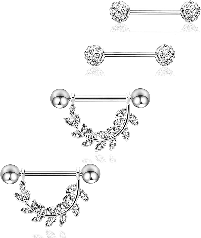 REVOLIA 14G 4Pcs Stainless Steel Nipplerings Piercing Barbell Piercing Body Jewelry Leaf