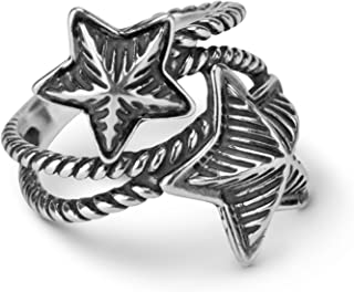 American West Sterling Silver Textured Double Star Ring