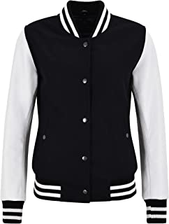 Ladies Varsity College Jacket Black Fabric with White Leather Sleeve Biker Style