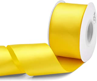 Humphrey's Craft 2 inch Double Face Solid Satin Ribbon 100% Polyester Ribbon Roll -25 Yard (Daffodil Yellow)